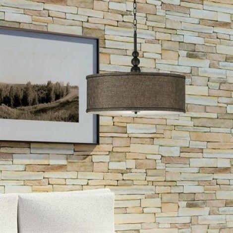 Luminaire suspendu bronze avec abat-jour en lin bronze, idéal pour - entree de maison avec escalier