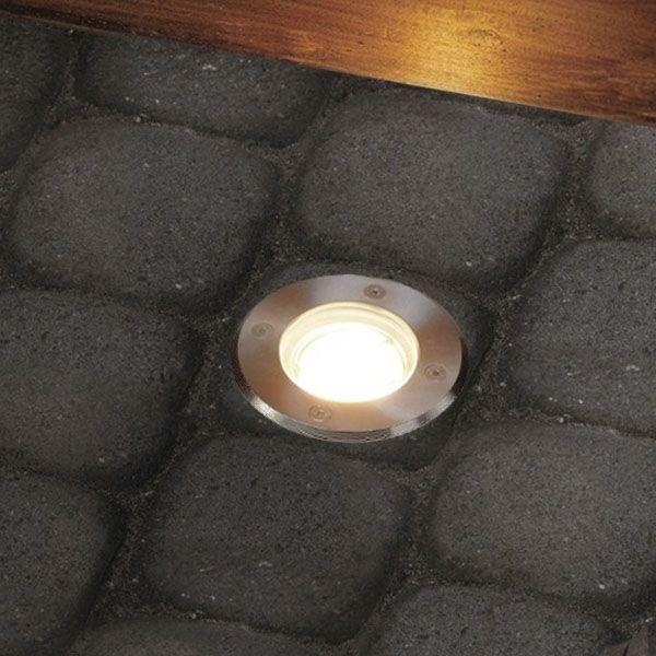 LED Bodeneinbaustrahler Edelstahl Außenleuchte IP67 GU10 230V (Rund)