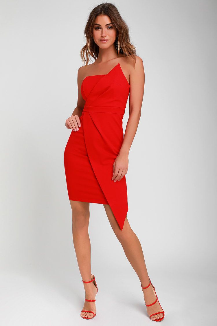 Queen Of The City Red Strapless Bodycon Dress Bodycon Dress Red Wedding Guest Dresses Red Strapless Dress [ 1125 x 750 Pixel ]