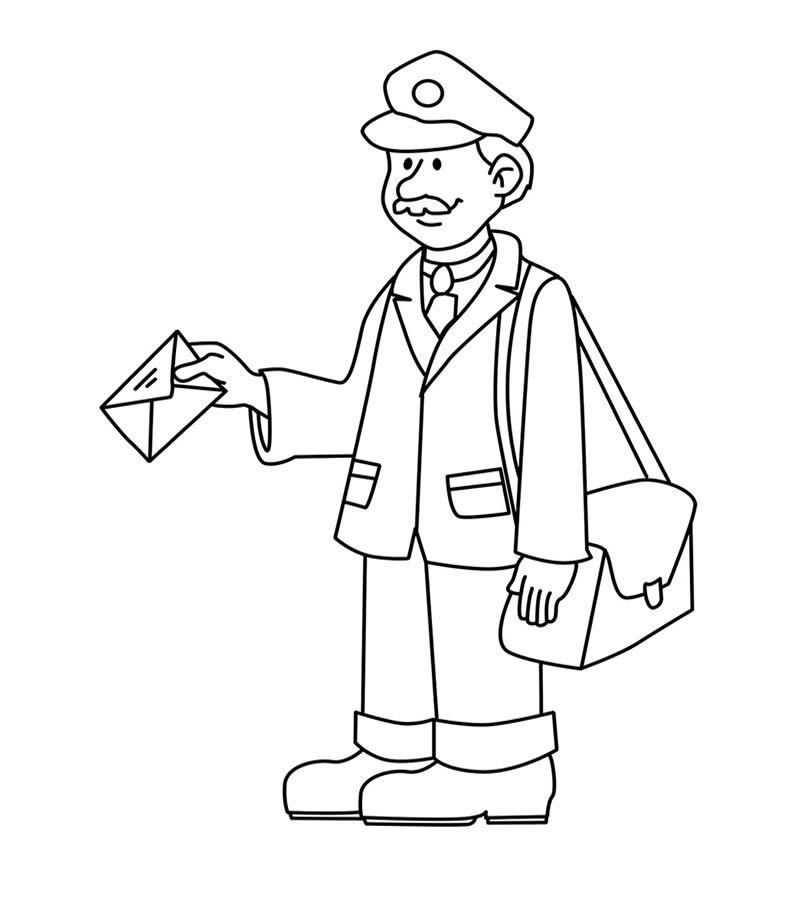Dibujo De Cartero Profesiones Para Ninos Dibujos De Profesiones Dibujo De Un Cartero