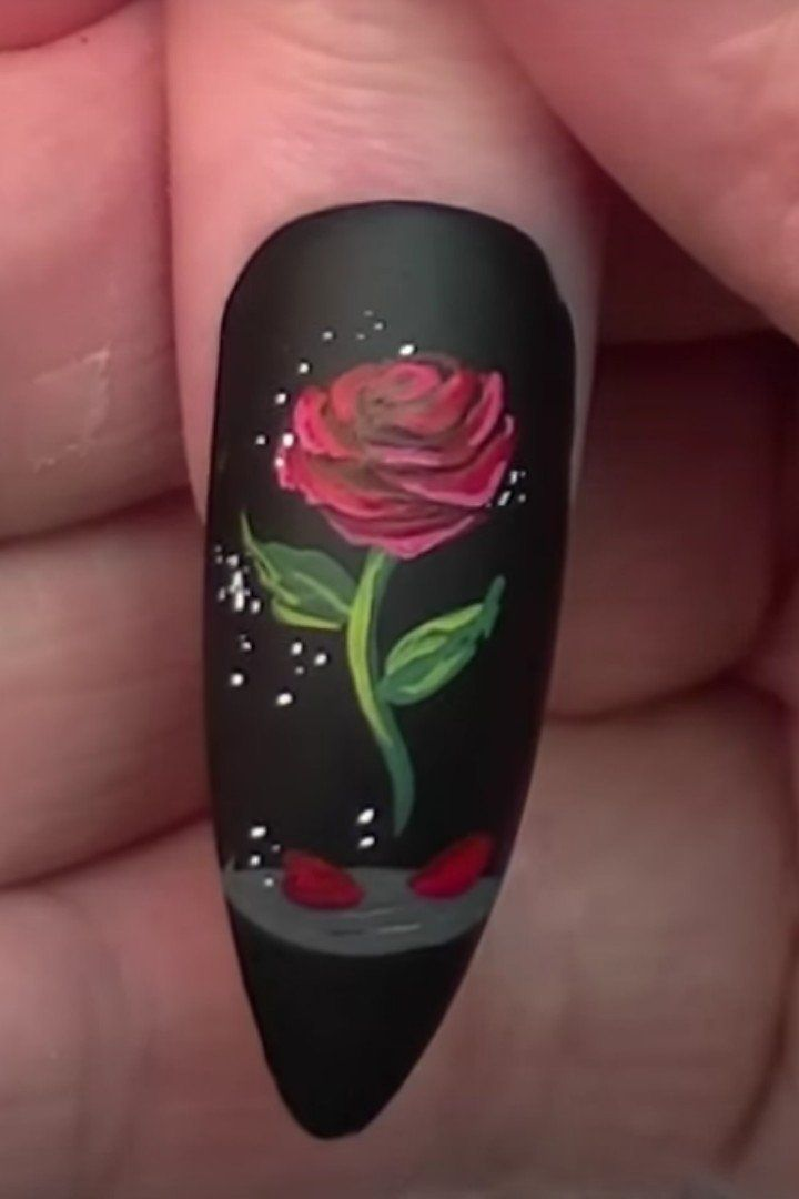 You'll Feel Like a Beauty Rocking This Enchanted Rose Nail Art - Beauty And The Beast Nail Art Design Rose Nail Art, Rose Nails And