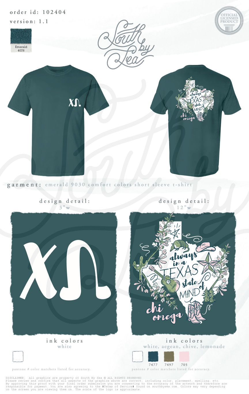 Shirt design mission tx - Chi Omega Chi O Always In A Texas State Of Mind Texas Shirt