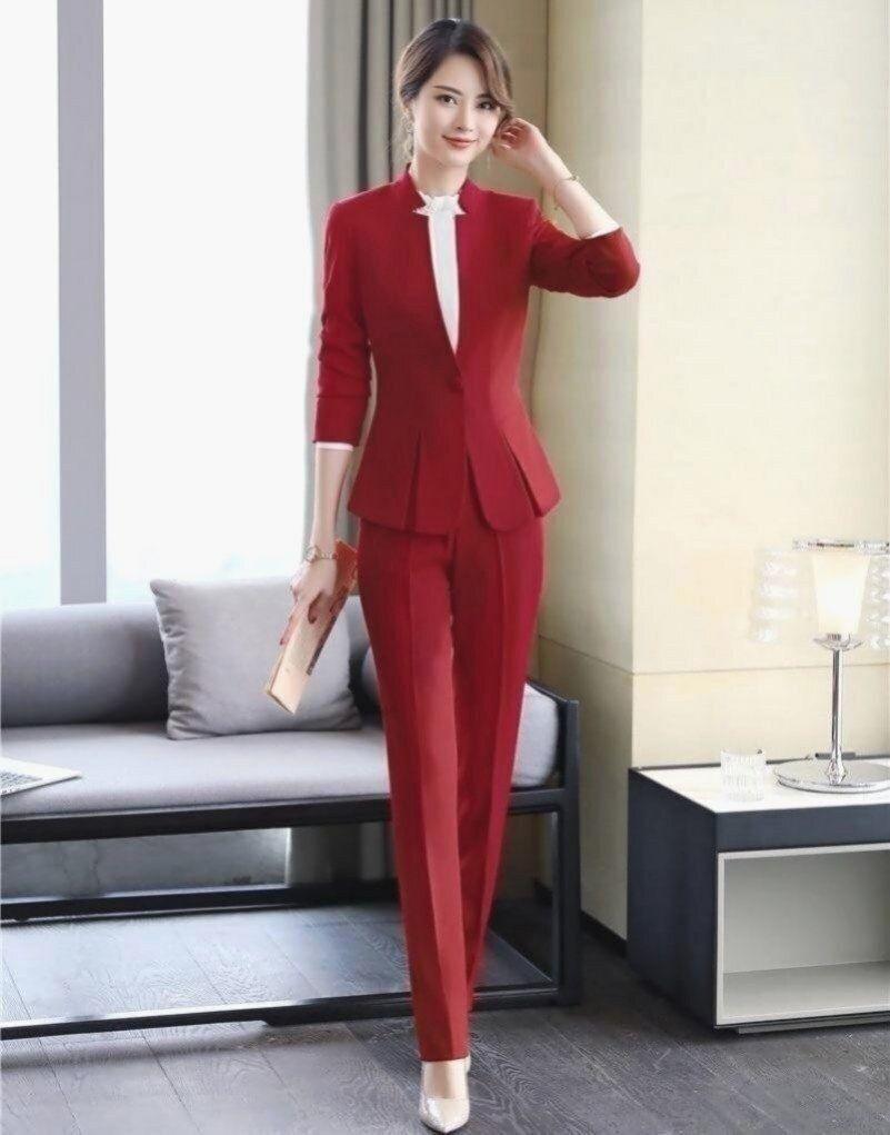 Formal Elegant Women S Blazers Trouser Suits Ladies Red Blazer Women Business Suits With Pant And Jackets Sets W 2020 Kadin Pantolonlari Moda Stilleri Elegant Woman