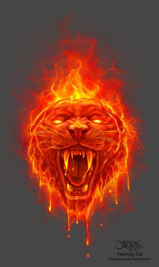 Charmant Flaming Cat Canvas Art Print By Christos Karapanos #fantasy #fire #creature