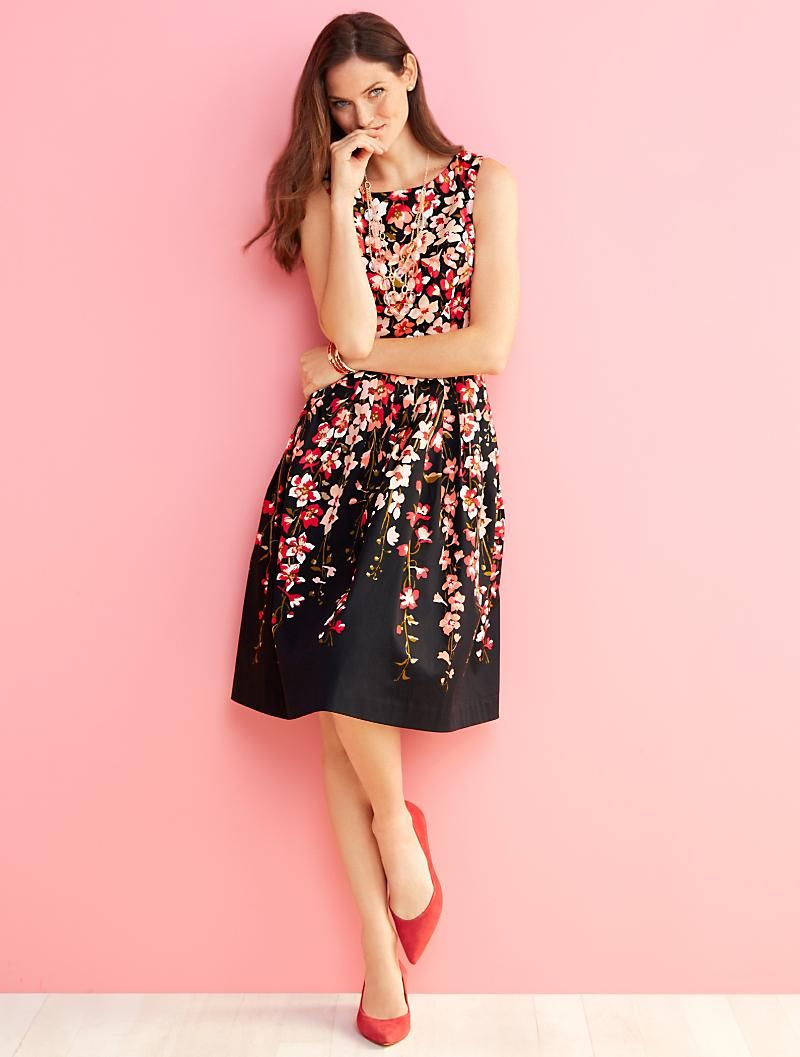 Talbots Gladiola Print Sateen Dress Floral Dress Casual Short Dresses Casual Maxi Dresses Casual [ 1057 x 800 Pixel ]