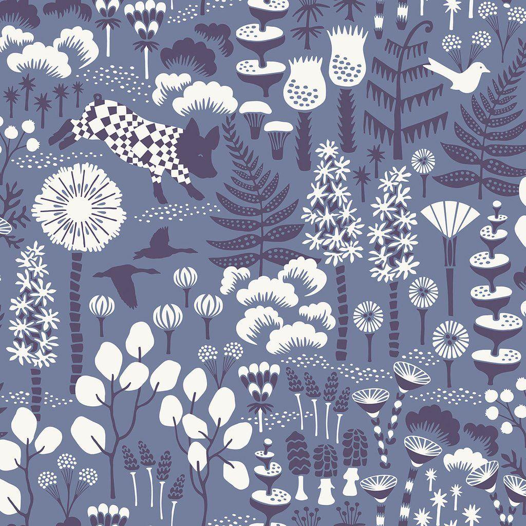 Hoppet Blue Folk Wallpaper from the Wonderland Collection