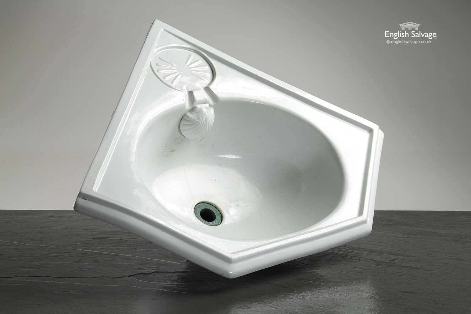 Shanks sink and stand reclaimed porcelain sinks and chrome stands - Victorian Corner Basin With Shell Overflow