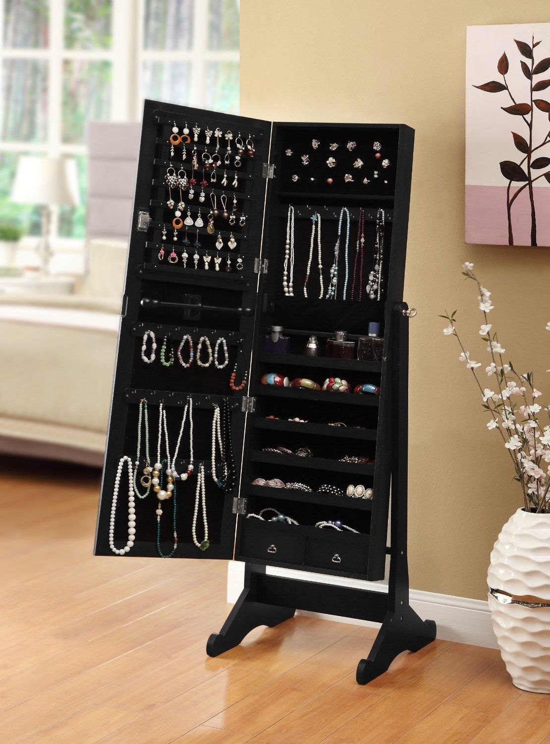 Amazon Com Black Mirrored Jewelry Cabinet Amoire W Stand Mirror Rings Necklaces Bracelets Mirror Jewellery Cabinet Jewelry Mirror Jewelry Cabinet