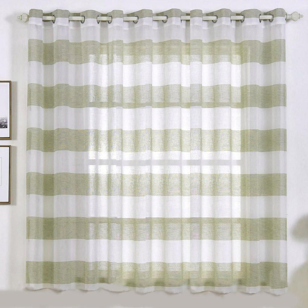 2 Pack 52 X 64 Cabana Print Faux Linen Curtain Panels With Chrome Grommet White Sage Green Panel Curtains