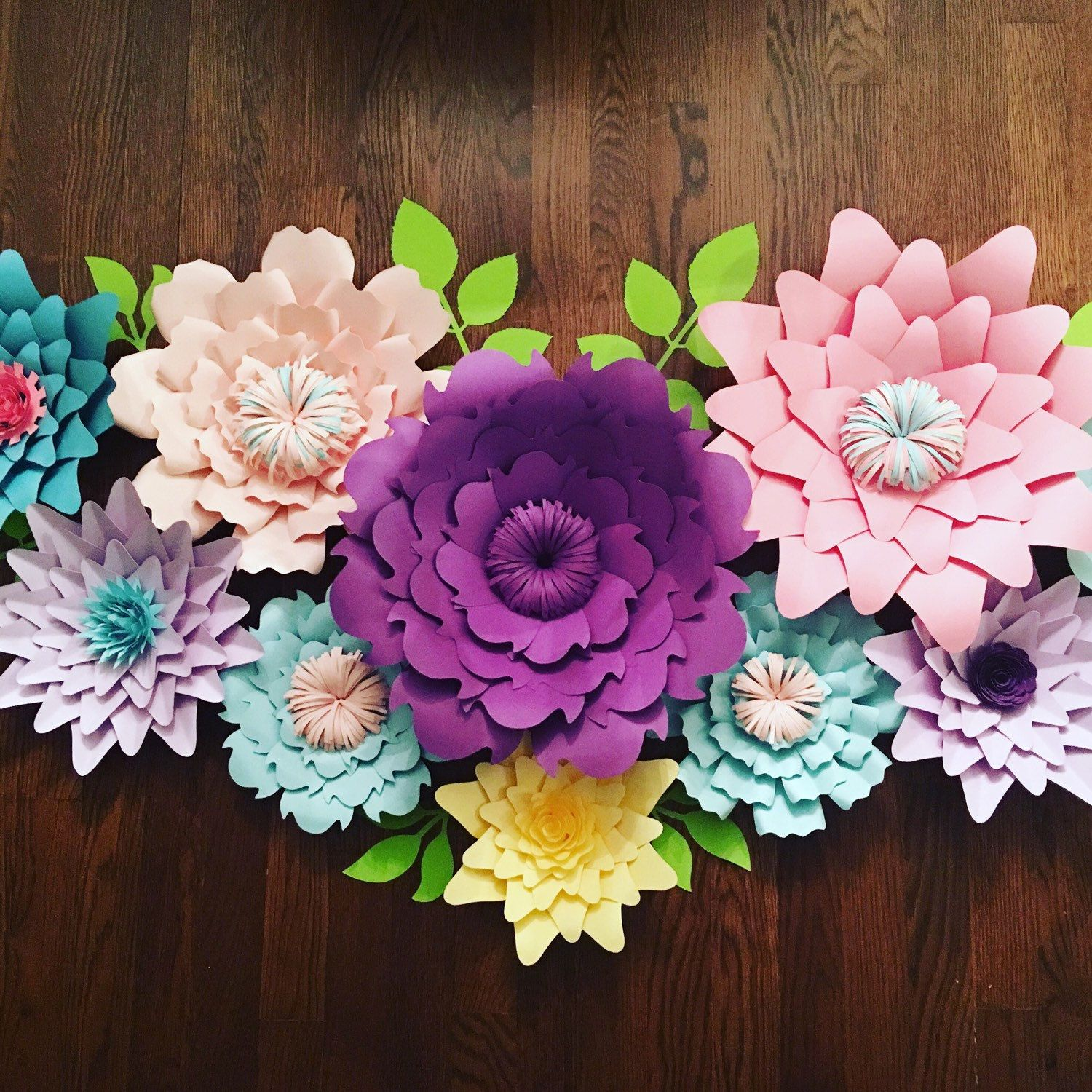 Pink, Purple, Blue And Yellow Large Paper Flowers