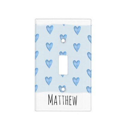 blue heart typography boy love name nursery light switch cover in