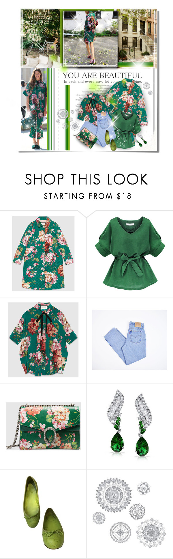 """""""Flovers For Gucci"""" by janiaame ❤ liked on Polyvore featuring Gucci, Levi's, Bling Jewelry, WallPops, gucci, milan, Packandgo, spring2016 and janiamania"""