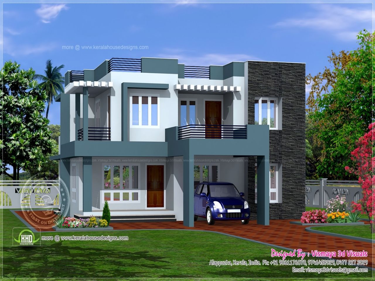 BHK modern flat roof house design - Kerala home design and floor plans |  Great modern homes | Pinterest | Flat roof house designs