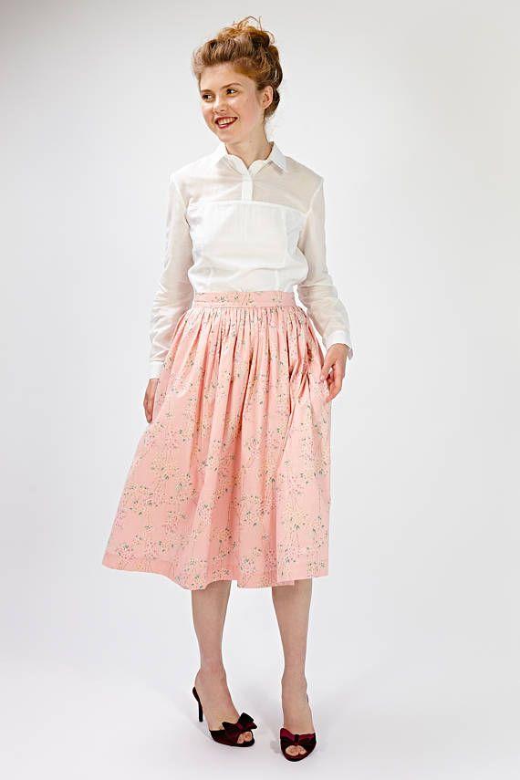 Women Skirt, 1950s Skirt, Flare Skirt, Pink Skirt, Floral Skirt, Vintage Style Skirt, Retro Dress, Midi Skirt, Full Skirt, Circle Skirt