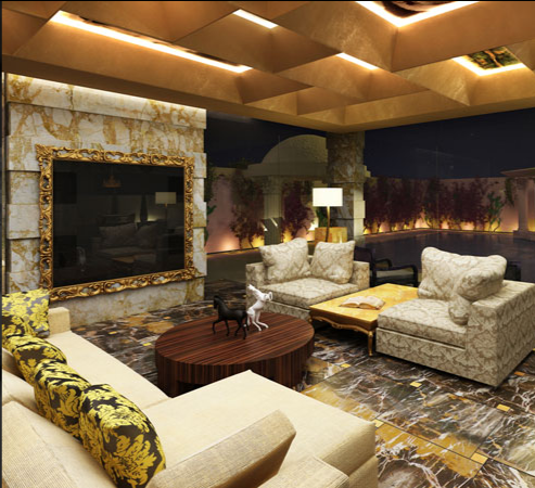 dubai home with a fireplace feature and awesome ceiling design uae dubaihomes - Home Decor Dubai