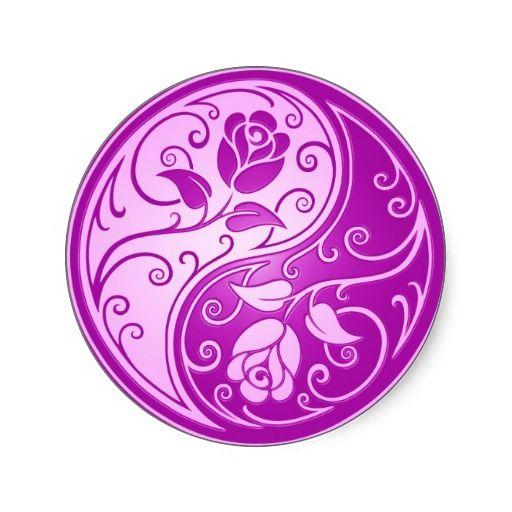 Yin Yang Roses, purple Classic Round Sticker
