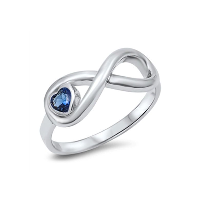 New Silver Infinity Heart Ring Blue Sapphire Sterling  925 Size 5 6 7 8 9 10