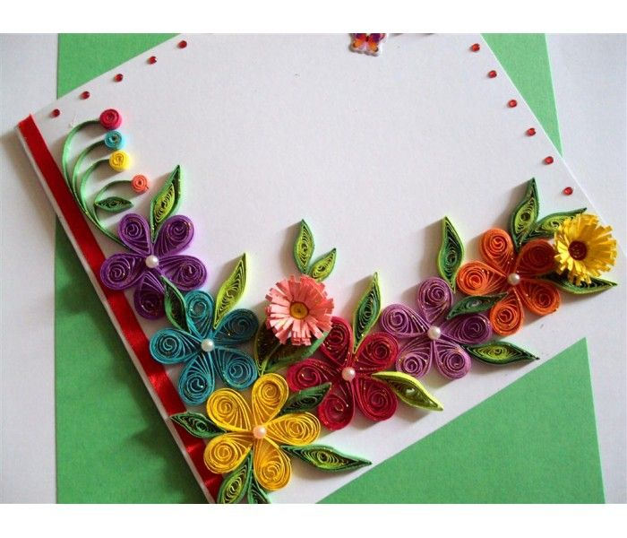 Colorful Flowers Border Greeting Card Paper Quilling Flowers Square Greeting Card Homemade Birthday Cards