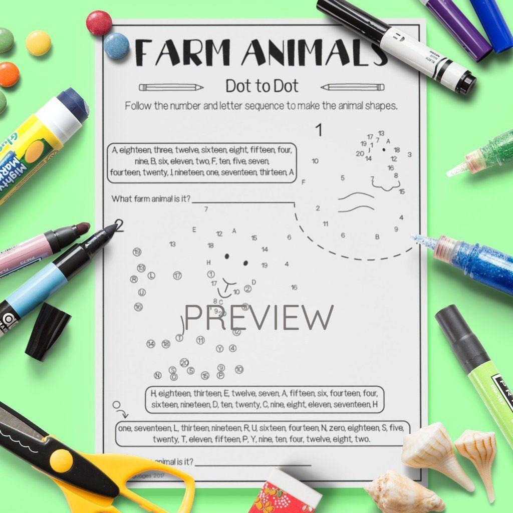 Farm Animals Dot To Dot