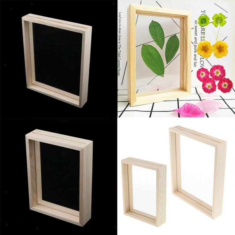 2pcs stereo transparent wooden glass