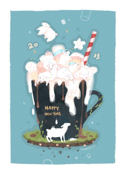 polapaz1988:  Happy New Year! Marshmallow sheep and hot chocolate.
