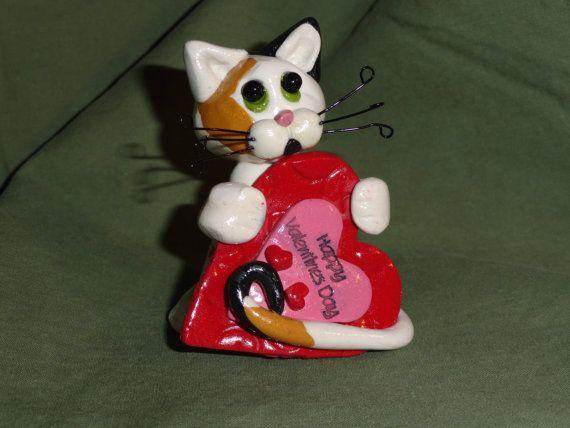 Handmade Polymer Clay Valentine Cat Figurine by kookoo4cats, $3.00