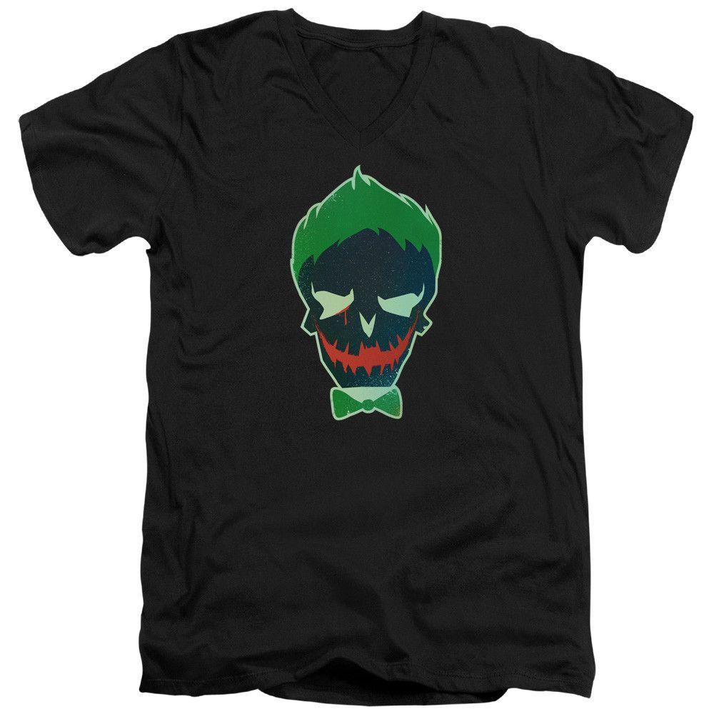 Suicide Squad Joker Skull Adult V-Neck T-Shirt