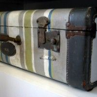 DIY painted suitcase.  The Lilypad cottage