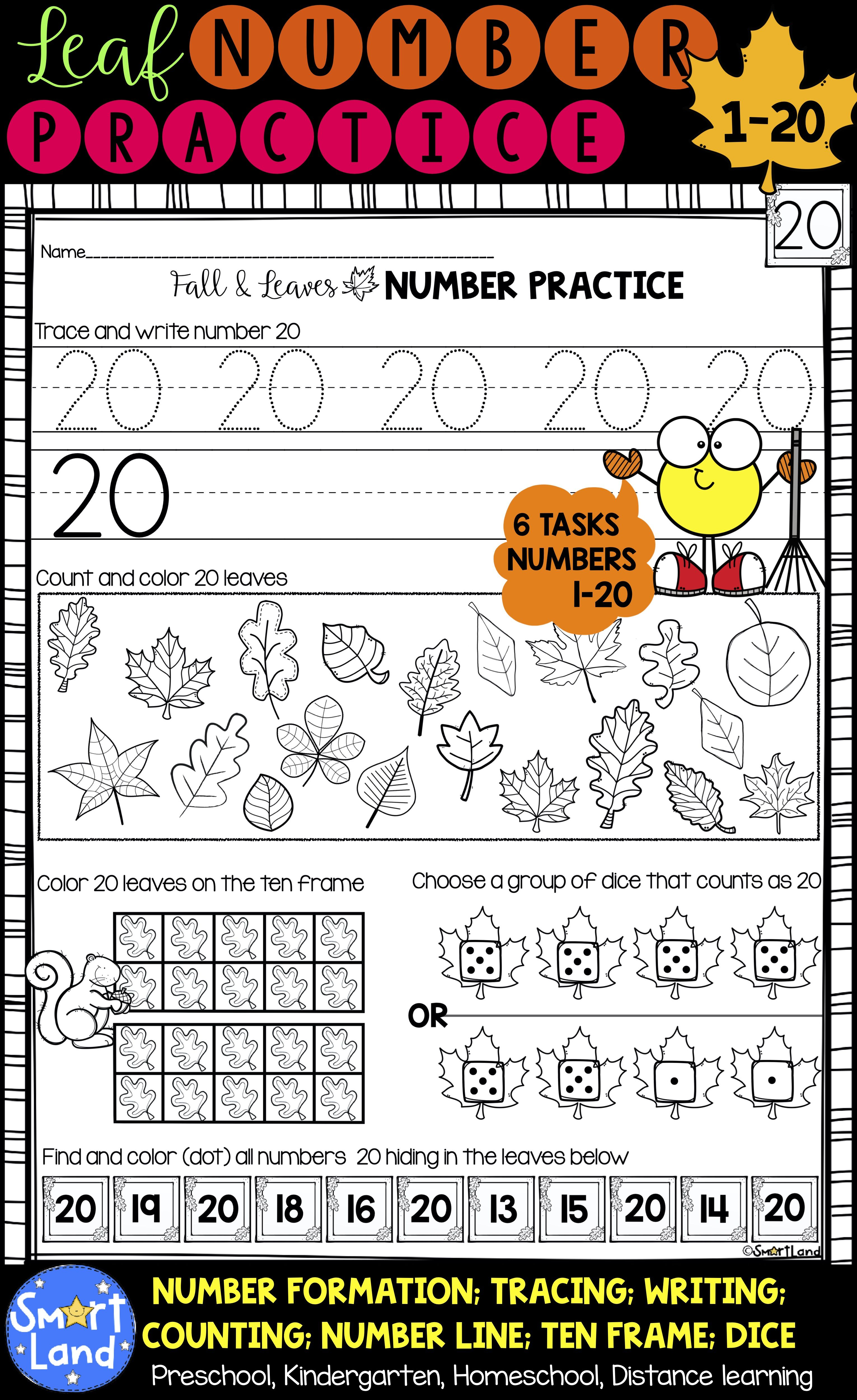 Numbers 1 20 Handwriting And Counting Fall Fun Elementary Resources Kindergarten Resources Homeschool Programs [ 5000 x 3062 Pixel ]