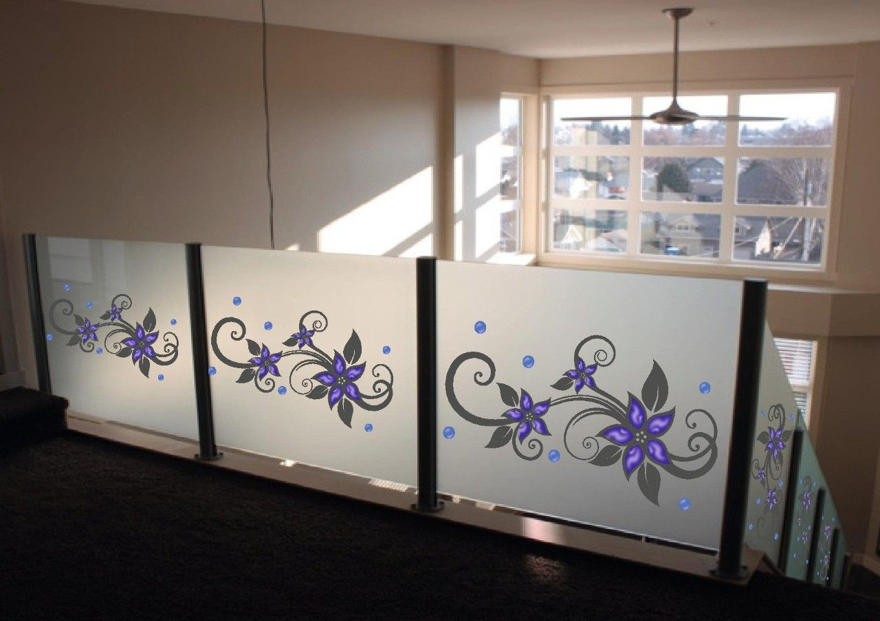 Glass etching designs for balcony