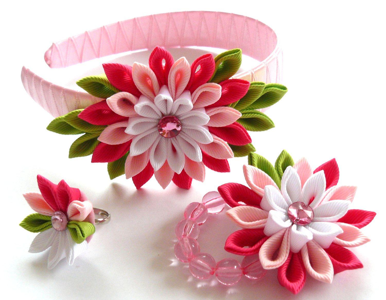 Kanzashi Fabric Flowers Set Of 3 Pieces Shocking Pink Pink White