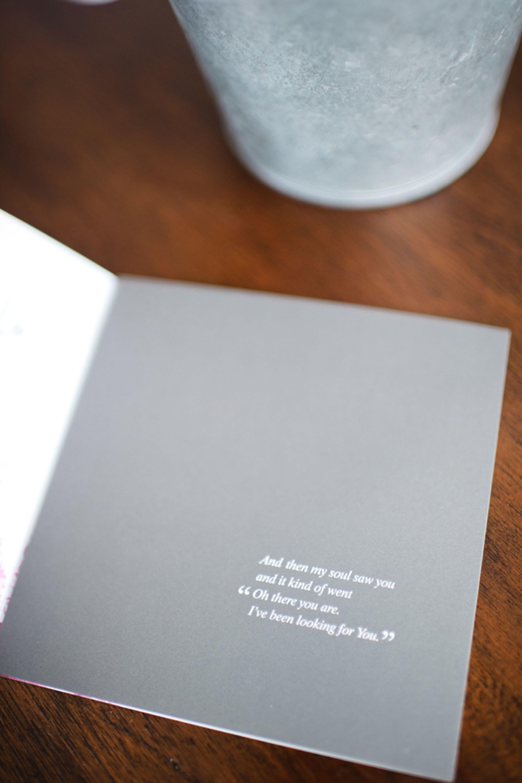 grey wedding invitation  photo by Brita Photography