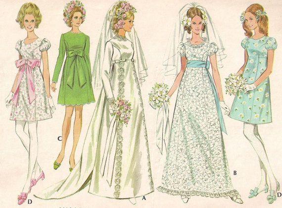 Vintage 60s Wedding Dress Pattern Detachable Train MOD Brides Maid ...