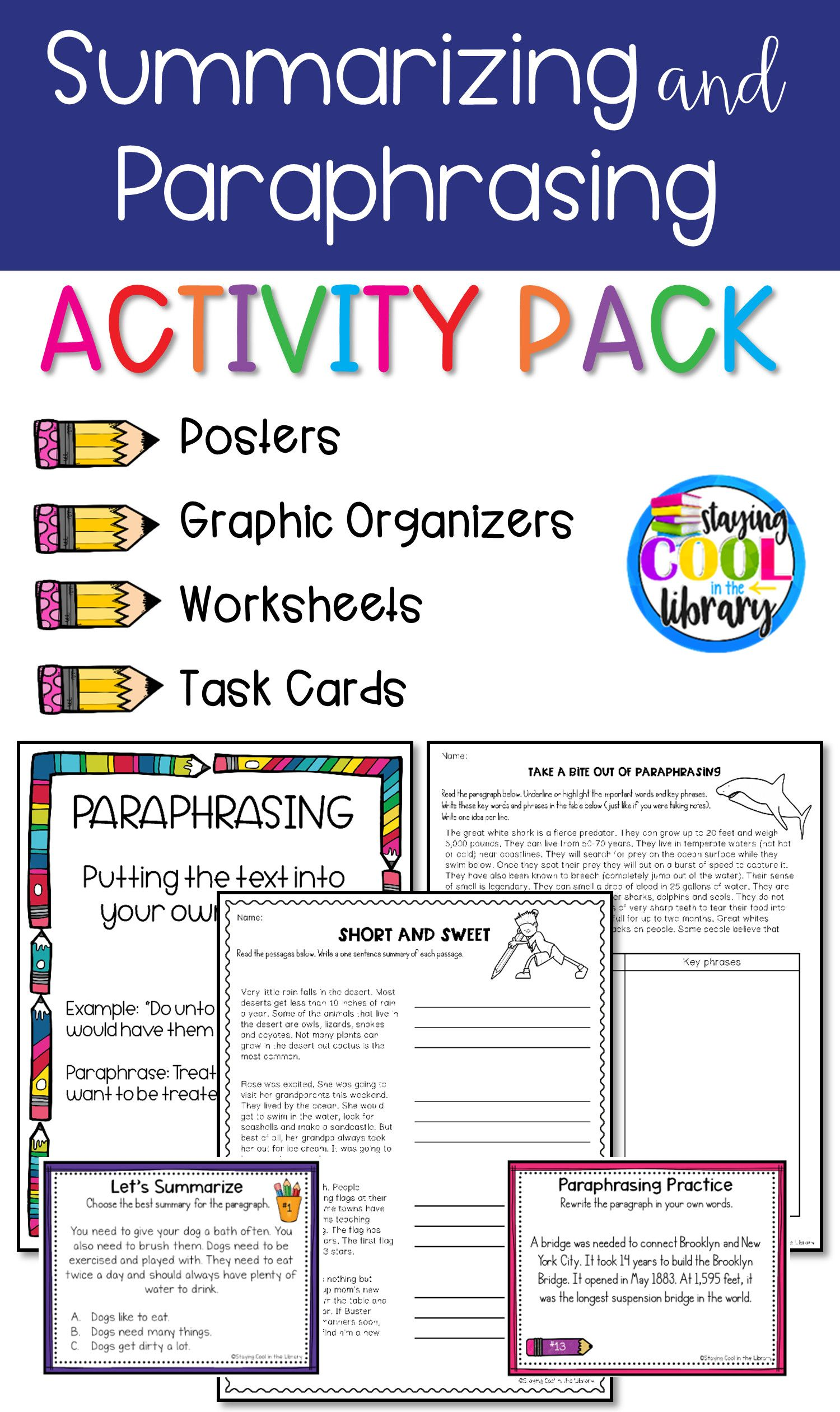 Paraphrasing Worksheet Middle School Activitie Research Skill Reading Instruction Resources Resource  Writing