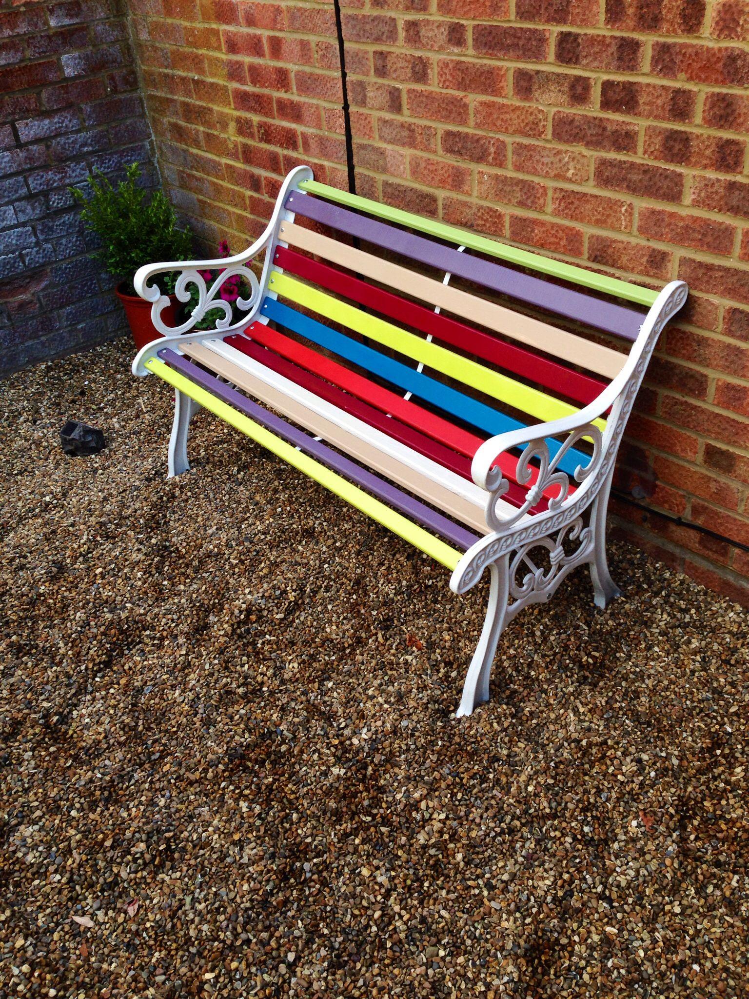 Multicoloured garden bench restoration | - garden - | Pinterest ...