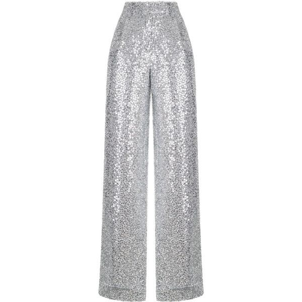 96ac6c39 Silver Sequin Pants | Moda Operandi ($1,365) ❤ liked on Polyvore featuring  pants, bottoms, rasario, sequin wide leg trousers, high-waist trousers, ...