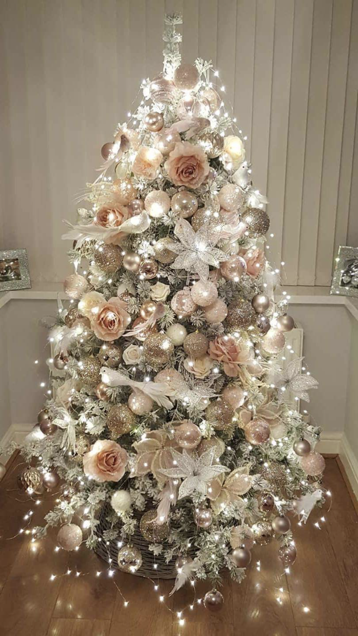 Rose Gold And Bush Pink Flocked Christmas Tree Floral Christmas Tree Christmas Tree Themes Gold Christmas Tree