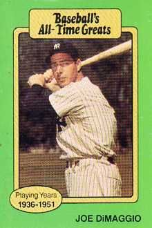 Joe Dimaggio Baseball Cards Joe Dimaggio 1987 Hygrade All