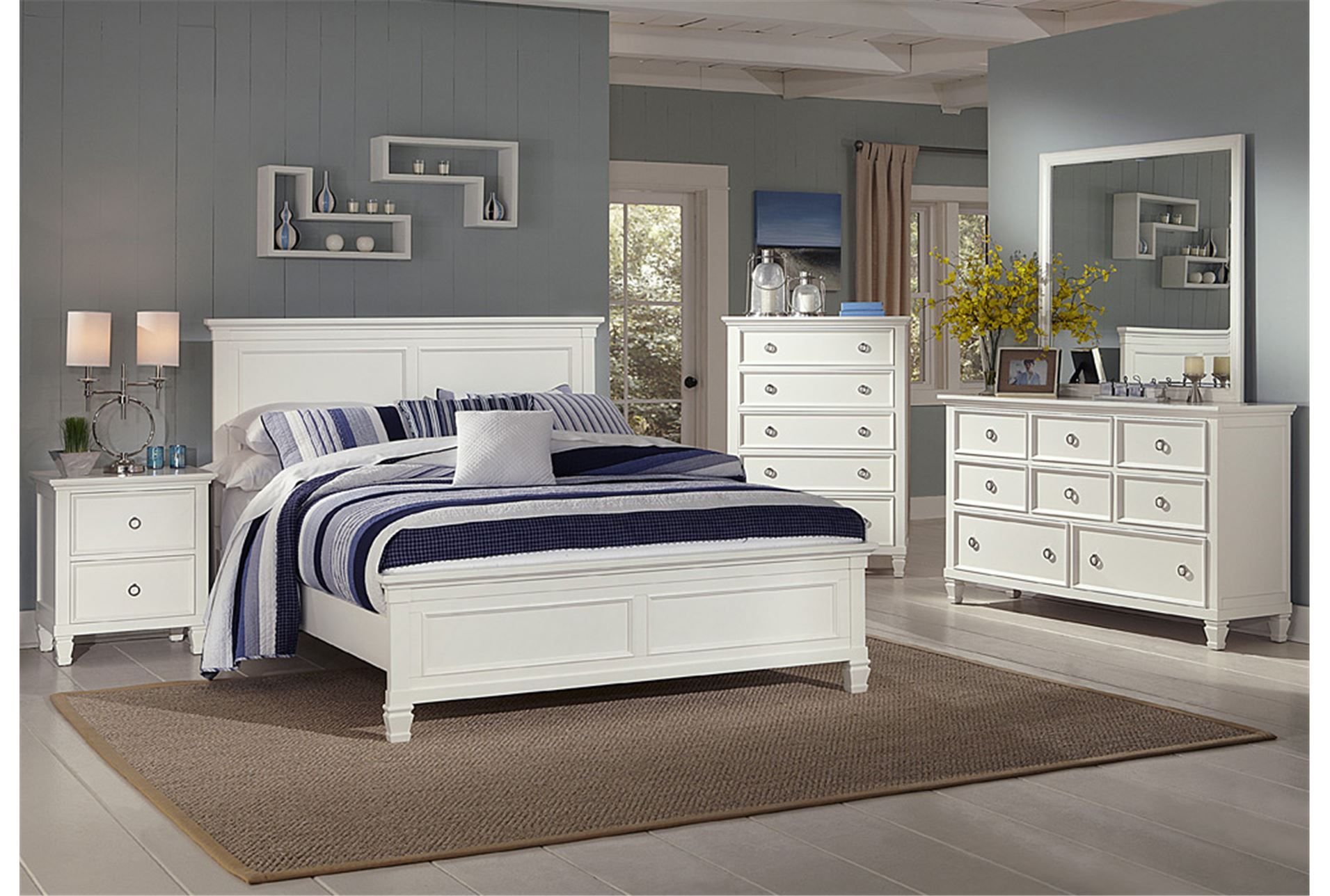 Albany Cal King Panel Bed White Panel Bedroom Set Bedroom Set Bedroom Sets Queen Bedroom set living spaces
