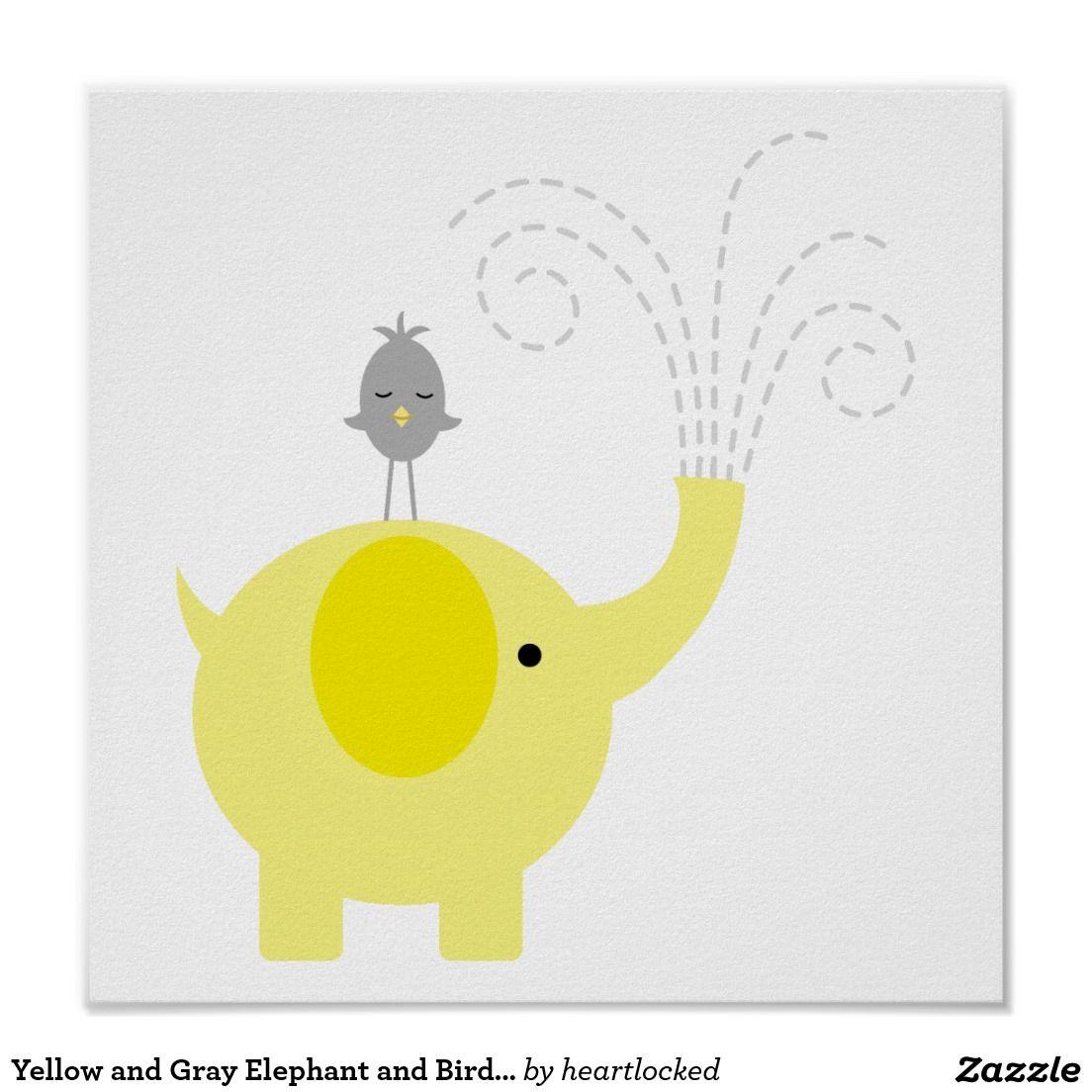 Yellow and Gray Elephant and Bird Nursery Poster   Bird nursery ...