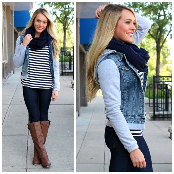 21 Outwear Looks for the Fall | Denim vests, Grey sweatshirt and Clothing  boutiques