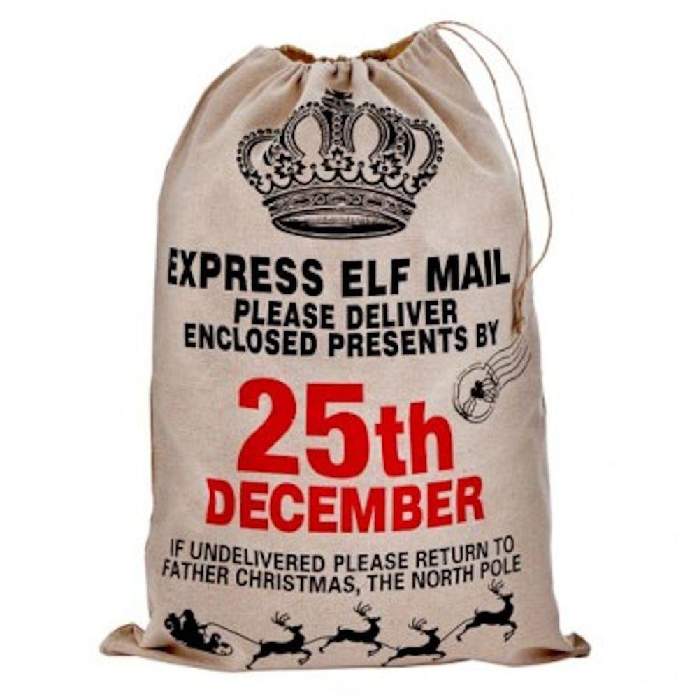 christmas jute vintage santa sack gift bag presents express elf