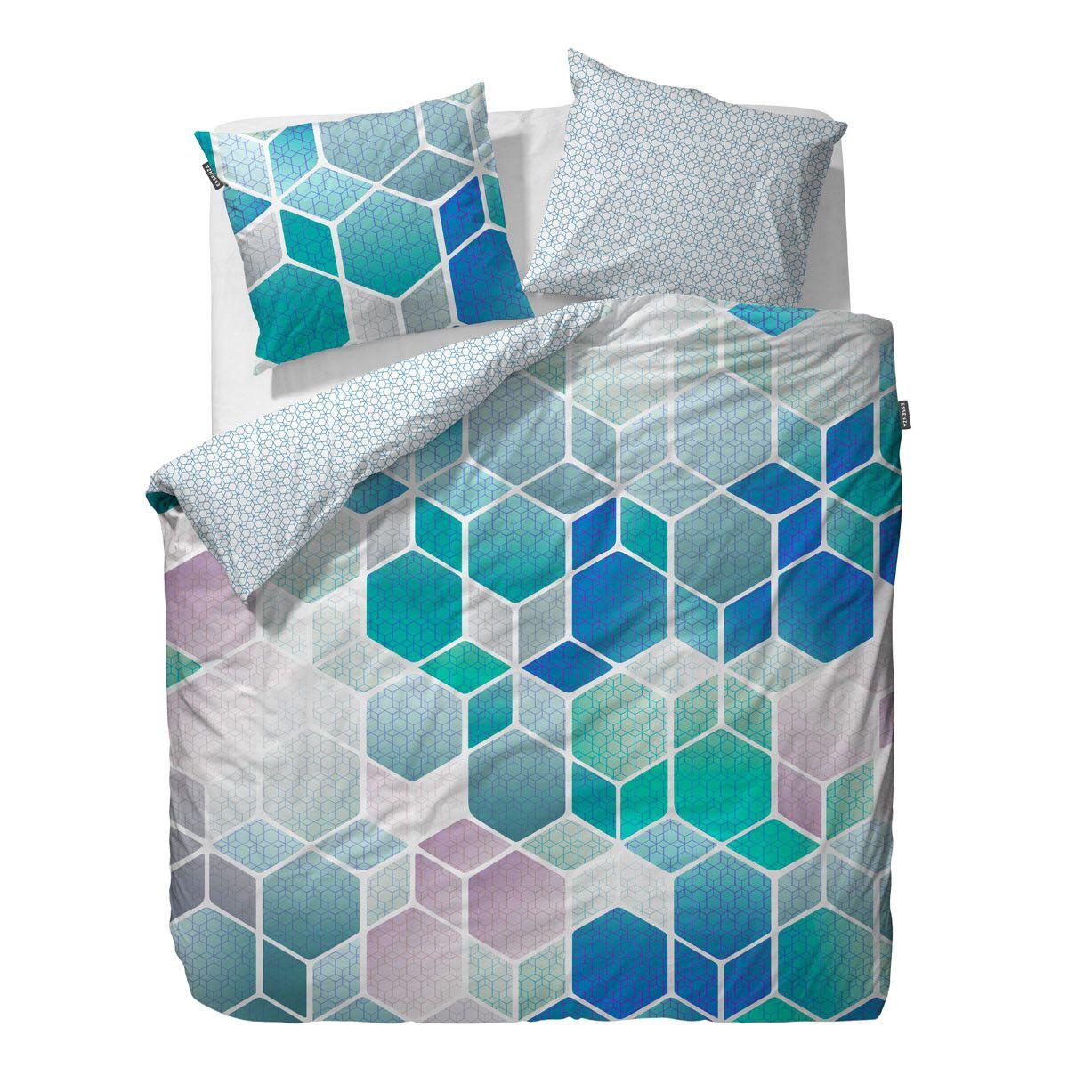 Essenza Mako Satin Wendebettwasche Hexagon Blue In Zart Glanzender