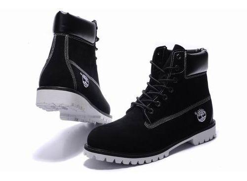 Mens Timberland 6 Inch Boots Nubuck Black White Sole [Timberland_US_18346]  - $92.99 : Timberland