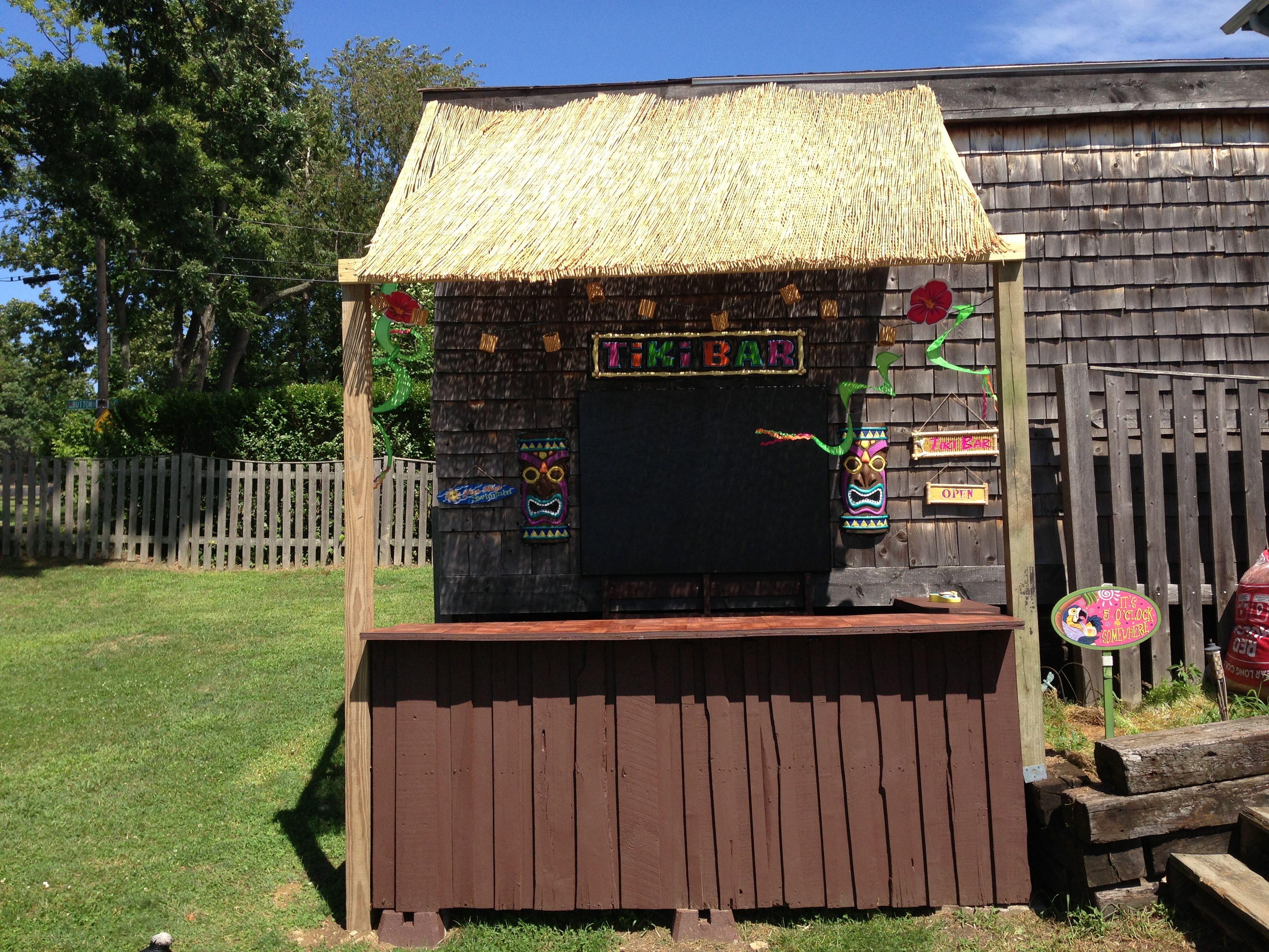 Tiki bar made from pallets luau pinterest tiki bars for Building a tiki bar from pallets