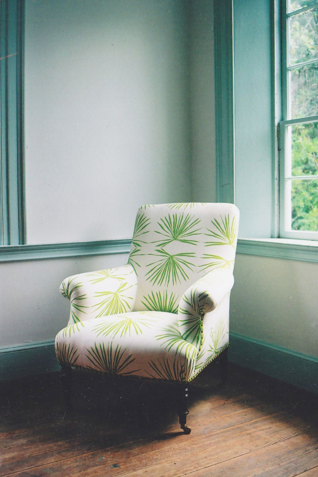Viridian Palm Covered Chair. Photo by Rinne Allen