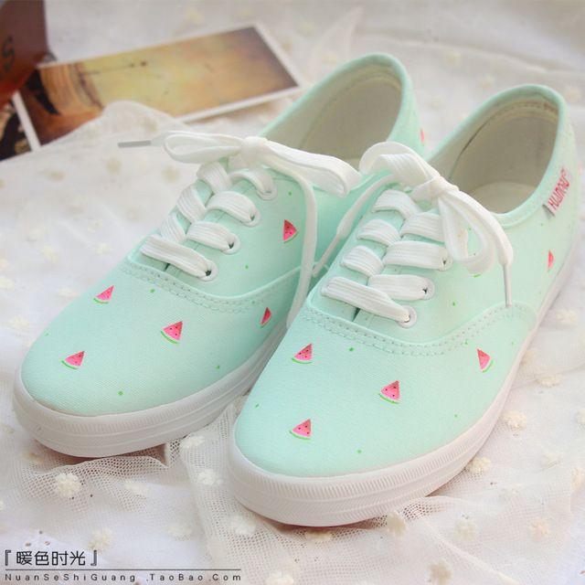 080cc7cc3ec Mujeres zapatos casuales de color rosa color blanco zapatos pintados a mano  sandía pequeña zapatos de lona suave