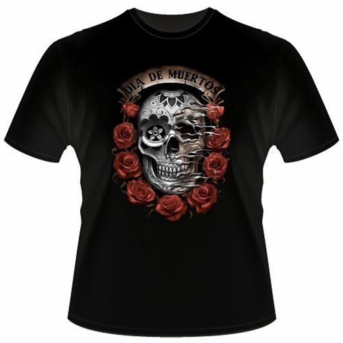 """Black T-Shirt """"Dia de Muertos""""   €14.90  http://www.12print.it/artshop/liquid-blue/tshirt-nera-dia-de-muertos-323.htm"""