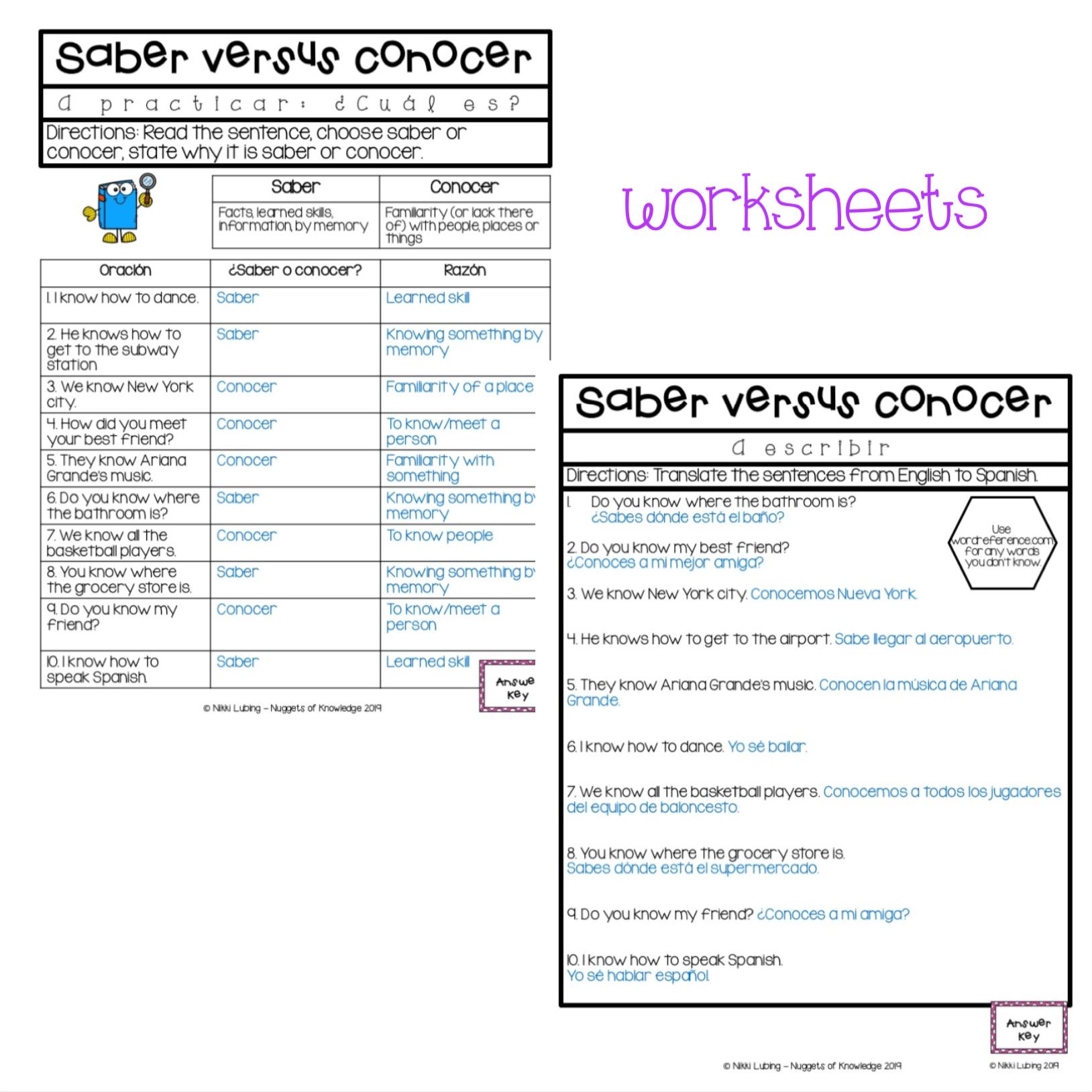 Saber Vs Conocer Worksheet For Success