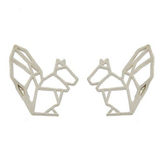 Geometric Silver Squirrel Earrings.   Shop now and save 40% :   #DailyDeals